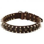 3 Rows Leather Spiked and Studded Black Russian Terrier Collar