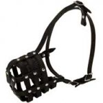 Walking and Training Leather Cage Black Russian Terrier Muzzle