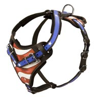 American Flag Painted Leather Black Russian Terrier Harness for Agitation Training