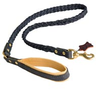 Braided Handcrafted Leather Black Russian Terrier Leash with Nappa Leather Lined Handle