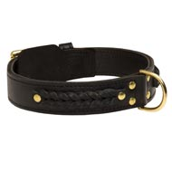 Incredible Design Black Russian Terrier Braided Leather Collar