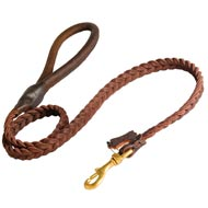 Black Russian Terrier Leather Braided Dog Leash