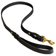 Walking Training Leather Black Russian Terrier Leash Braided