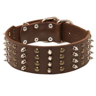 Extra Wide Leather Spiked and Studded Black Russian Terrier Collar