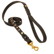 Studded Leather Black Russian Terrier Leash for Dog Walking and Training
