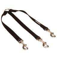 Triple Nylon Black Russian Terrier Leash Coupler for Walking 3 Dogs at a Time