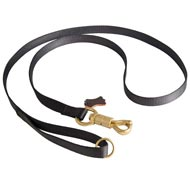 Police Tracking Nylon Black Russian Terrier Leash Features Massive Solid Brass Snap with Smart Lock