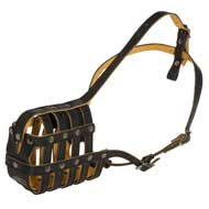 Royal Nappa Leather Basket Black Russian Terrier Muzzle