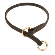 Black Russian Terrier Leather Choke Collar Effective Training