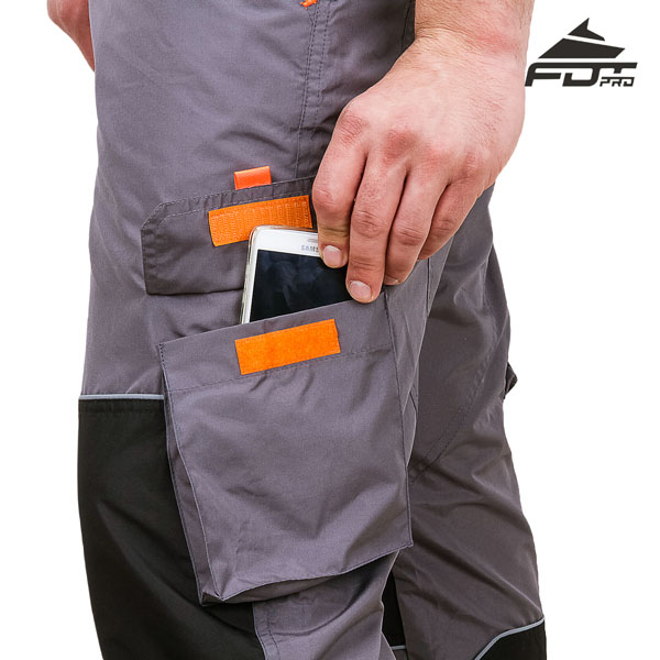 Strong Velcro Side Pocket on Pro Design Dog Tracking Pants