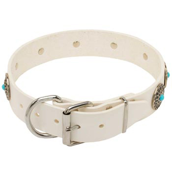 Leather   Black Russian Terrier Collar White Fancy for Dog Training, Walking