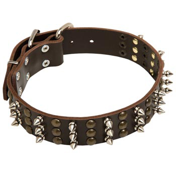 Black Russian Terrier Handmade Leather Collar 3  Studs and Spikes Rows