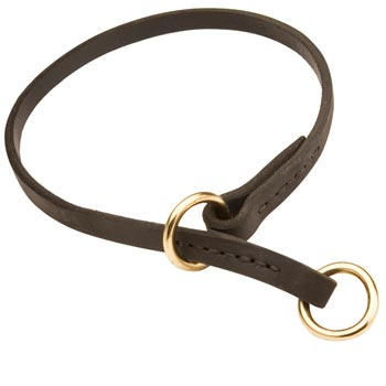 Black Russian Terrier Obedience Training Choke  Leather Dog Collar