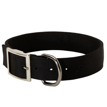 Nylon Black Russian Terrier Collar with Adjustable Steel Nickel Plated Buckle