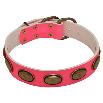 Pink Leather Black Russian Terrier Collar for Female Dogs