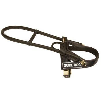 Black Russian Terrier Guid Harness Leather for Dog Assistance