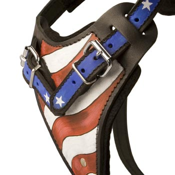 Black Russian Terrier Leather Harness With Hand Painted USA  Chest Plate