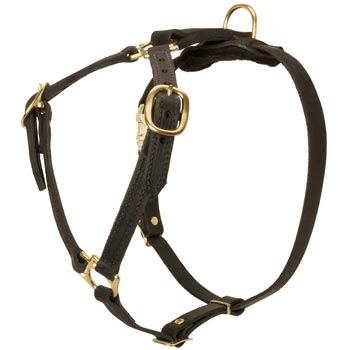 Leather Black Russian Terrier Harness Light Weight Y-Shaped for Tracking Dog