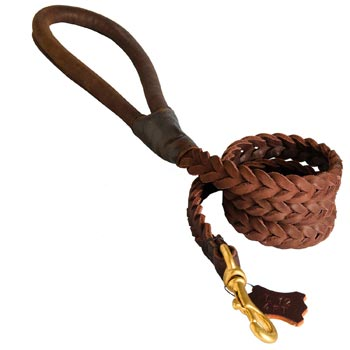 Multipurpose Leather Braided Black Russian Terrier Leash