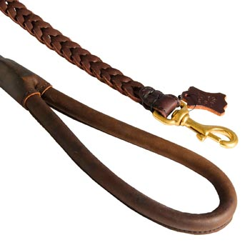 Braided Leather Black Russian Terrier Leash with Brass Snap Hook