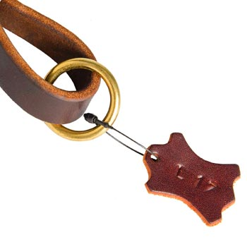 Leather Pull Tab for Black Russian Terrier with O-ring for Leash Attachment