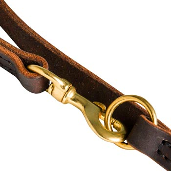 Black Russian Terrier Leather Leash with Brass Snap Hook and O-ring