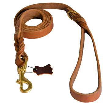 Leather Leash for Black Russian Terrier Successful Schutzhund Training