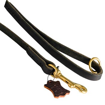 Handmade Leather Dog Leash with Floating O-Ring on The  Handle for Black Russian Terrier