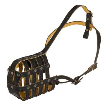 Leather Basket Black Russian Terrier Muzzle