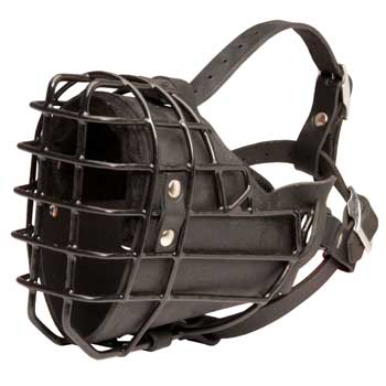 Winter Fully Wire Black Russian Terrier Padded Muzzle Cage