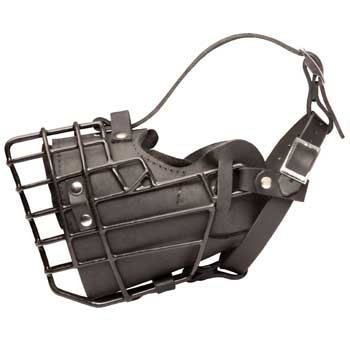 Leather Black Russian Terrier Muzzle Padded Metal Basket